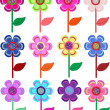 Set of flowers in different shapes, color. - Stock Vector