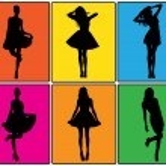 Set of various beautiful model girls in dress. — Stock Vector #4273195