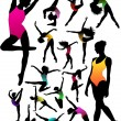 Cтоковый вектор: Set Dance girl ballet silhouettes vector