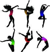 Set Dance girl ballet silhouettes vector — Stock Vector