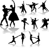 Dancing couples silhouettes collection - vector — Stock Vector