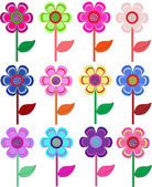 Set of flowers in different shapes, color. — Stock Vector