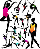 Set Dance girl ballet silhouettes vector — Stock Vector