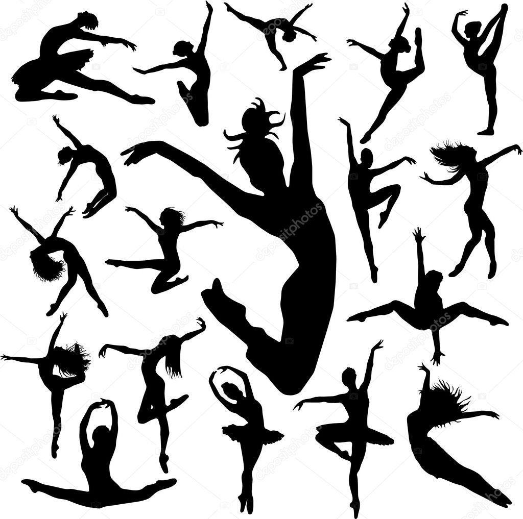 Set Dance girl ballet silhouettes vector eps  — Imagen vectorial #4272736