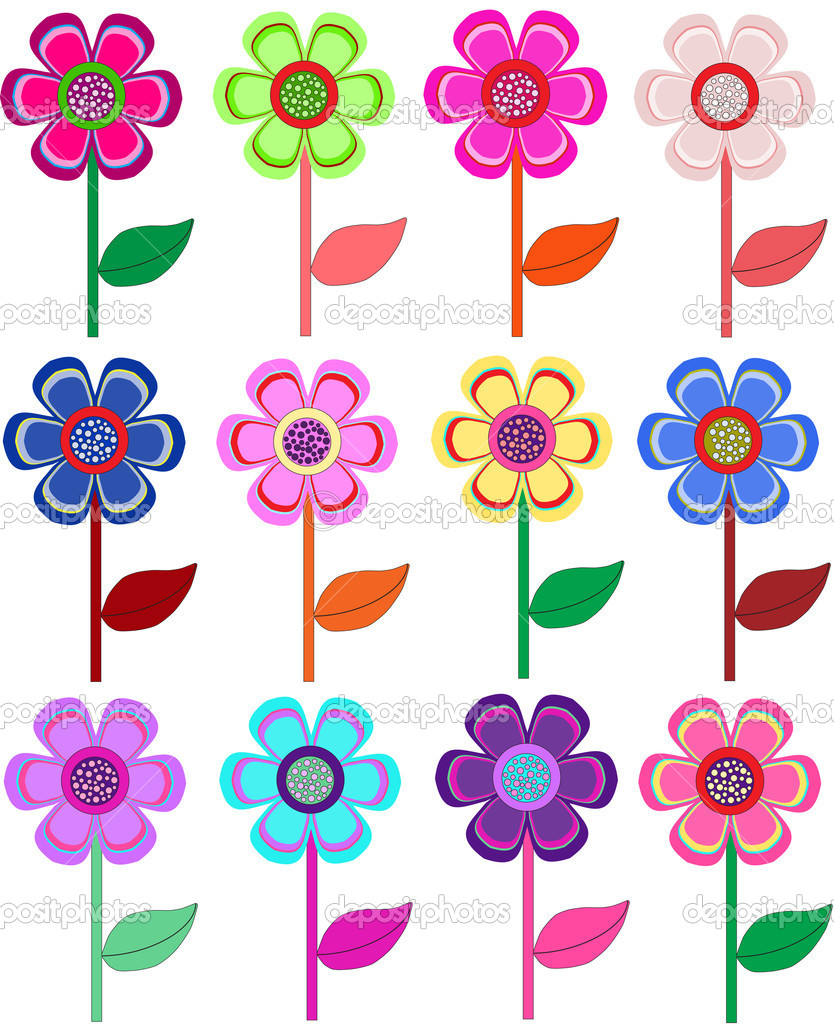 Set of flowers in different shapes, color. vector  Stock Vector #4272983