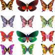 Set of different multicolored butterflies — Stock Photo #4405716