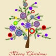 Beautiful Christmas tree illustration. Christmas Card — ベクター素材ストック