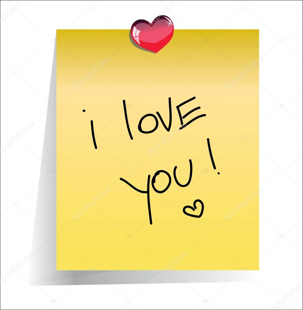 Love you paper note with place for your text — Stock Vector #4847539