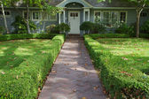 Green bush lined home entrance — Stock Photo