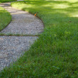Curved path grass lawn low — Stock Photo