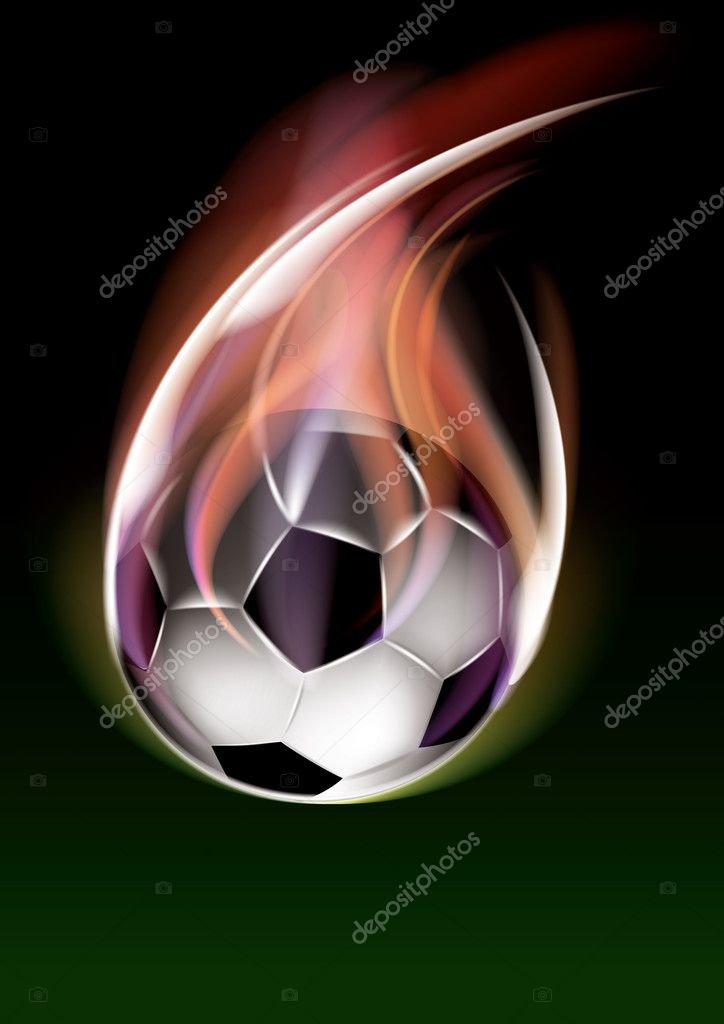 Flying soccer ball, eps10 vector — Stock Vector #4813987