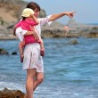 Young mother and daughter walking on beach — Stock Photo