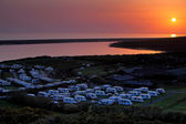 Amazing sunset over caravan park in Dorset England — Stock Photo