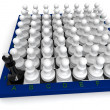 Many pawns versus king — Stock Photo