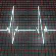 Stock Photo: White line cardiogram on space