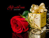Gift with rose — Foto Stock