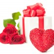 Heart with gift — Stockfoto