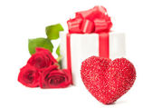 Heart with gift — Stock Photo
