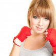 Woman in a glove — Stock Photo