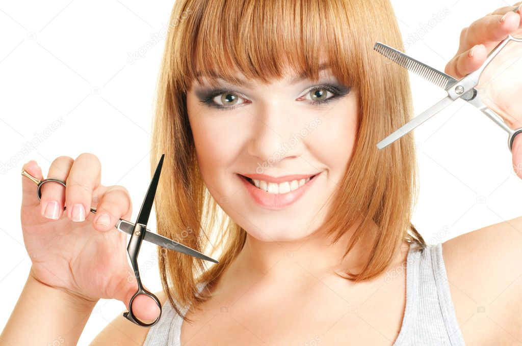 Portrait of the red hair women with hairdresser's scissors isolated on a white background — Stock Photo #4839635