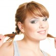 Woman with pigtails — Stock Photo