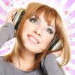 Female with headphones — Stockfoto