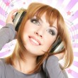Female with headphones — Stock Photo