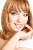 Face of red-haired girl — Stockfoto
