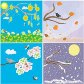 Icons of seasonal changes of year- spring, summer, autumn, winter — Stock Vector