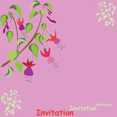 Invitational card with branch of fuchsia — Stock Vector