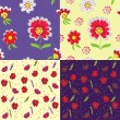 Set of floral seamless patterns — Stock Vector #4155466