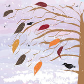 Tree with birds on sunset background with snowfall — Stock Vector