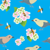 Seamless pattern with apple flowers, bees and birds — Stock Vector