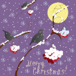 Greeting Christmas card with winter ashberry ,birds, snowflake and moon — Stock Vector