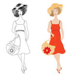 Fashion girls in sundress with trendy hat and handbag — Stock Vector