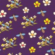 Seamless pattern with flowers and bees on violet background — Stock Vector