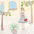 Girl in sundress walking on the street — Imagen vectorial