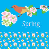 Spring card with bird, bee and flowers — Stock Vector