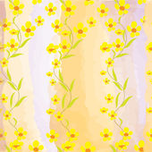 Seamless pattern with buttercups on watercolour background — Stock Vector