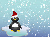 Penguin on ice — Vector de stock