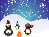 Penguin family — Vector de stock