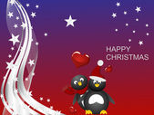 Penguin christmas — Vector de stock