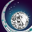 Stock Vector: Silver mirror ball