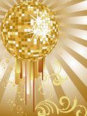 Golden mirror ball — Stock Vector