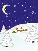 冬のシーン - クリスマス カード — ストックベクタ