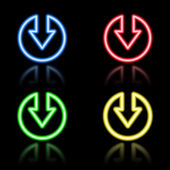 Sada ikon tlačítek, neon — Stock vektor