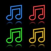 Icon set of neon buttons — Cтоковый вектор