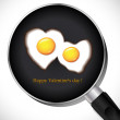 Stock Vector: Fried Egg.Valentine's day