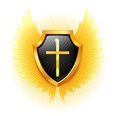Shield with a cross. Vector. — Stock Vector