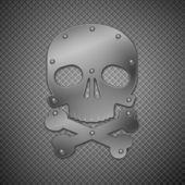 Metallic skull. — Stock Vector